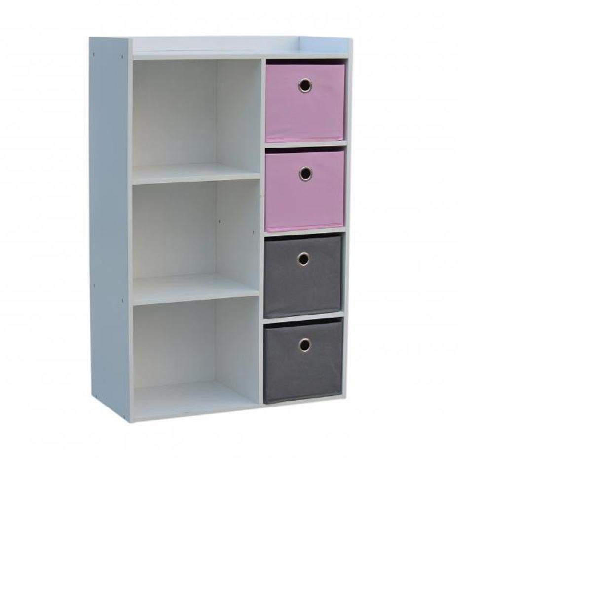 armoire de rangement enfants fille 3 niches 4 tiroirs rose gris meuble de ran ebay. Black Bedroom Furniture Sets. Home Design Ideas