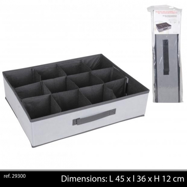 boite 12 compartiments noir gris blc casier de rangement. Black Bedroom Furniture Sets. Home Design Ideas
