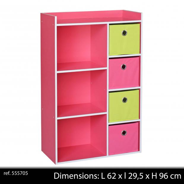 meuble de rangement enfants 3 niches 4 tiroirs armoire de. Black Bedroom Furniture Sets. Home Design Ideas
